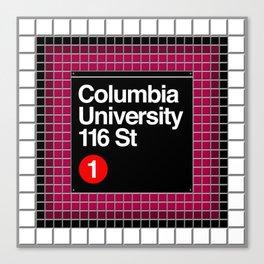 subway columbia university sign Canvas Print