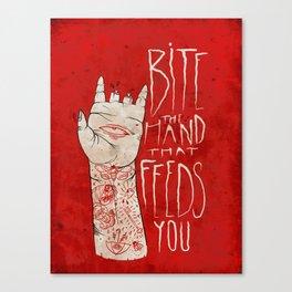 bite the hand. Canvas Print