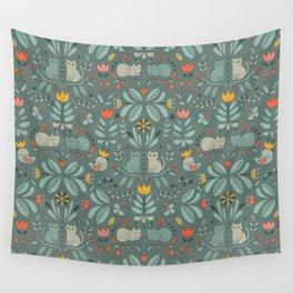 Swedish Folk Cats Wall Tapestry