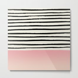 Blush x Stripes Metal Print