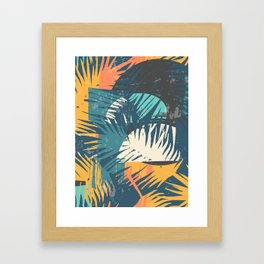 ABSTRACT TROPICAL SUNSET with palm leaves Framed Art Print