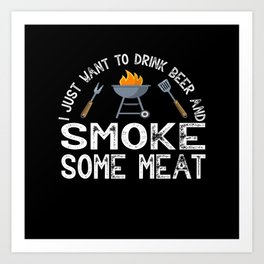 BBQ Summer Meat Smoker Beer Art Print