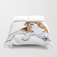 beagle Duvet Covers featuring Beagle by hadkhanong