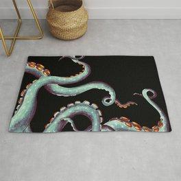 Teal Tentacles Octopus On  Black Rug