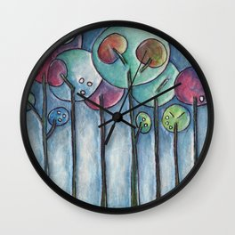 Lollipop Trees 3 Blue Series Wall Clock