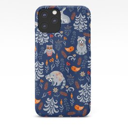 Fairy forest with animals and birds. Raccoons, owls, bunnies and little chick. iPhone Case