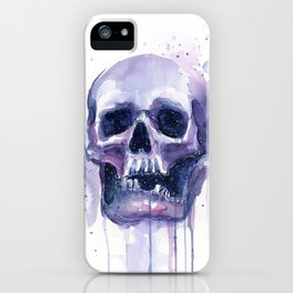 Skull in Watercolor Galaxy Space iPhone Case