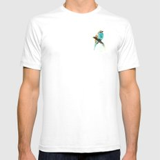 Watercolor bird White SMALL Mens Fitted Tee