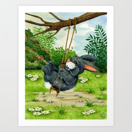 RABBIT ON A SWING Art Print