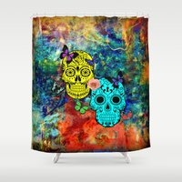 sugar skulls Shower Curtains featuring Sugar Skulls by haroulita