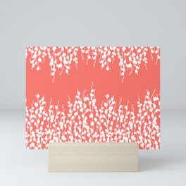 Pussywillow Silhouettes — Living Coral Mini Art Print