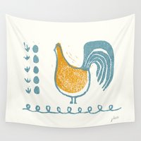 swedish Wall Tapestries featuring Swedish Hen by Chet and Dot
