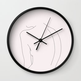 Woman's nude back line drawing illustration - Alex Natural Wall Clock