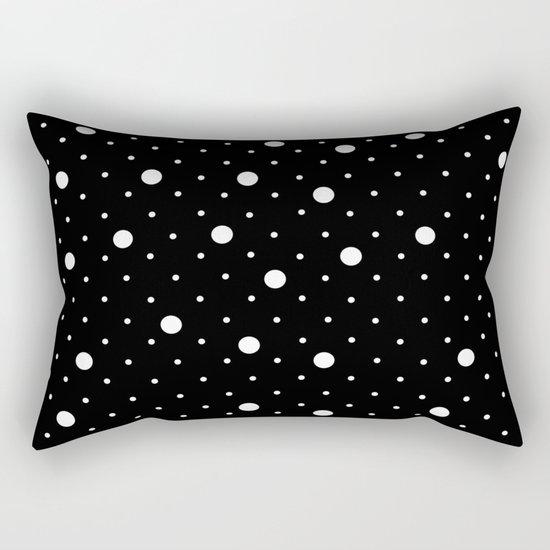 Pin Point Polka Dots White on Black Rectangular Pillow