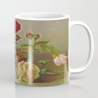 vintage flowers Mugs featuring Vintage Flowers by Lucia