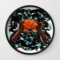 basketball Wall Clocks featuring  BasketBall  by Marven RELOADED