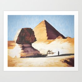 The Great Sphinx And Pyramid Art Print