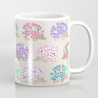 polkadot Mugs featuring Hedgehog polkadot by Heleen van Buul