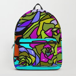 A Still Life of Succulent Plants in a Garden Scene Backpack