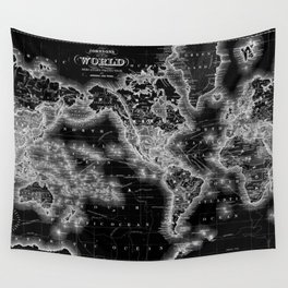 Black and White World Map (1864) Inverse Wall Tapestry
