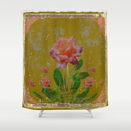 ANTIQUE AVOCADO COLOR  CORAL  PINK ROSES BOTANICAL ART Shower Curtain