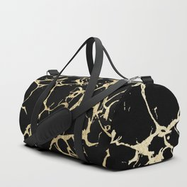 Stylish black faux gold foil elegant marble Duffle Bag