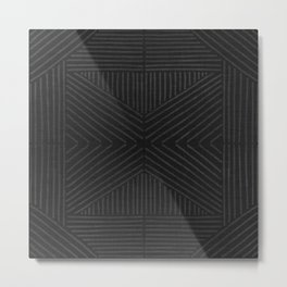 Charcoal grey line work on textured cloth - abstract geometric pattern Metal Print