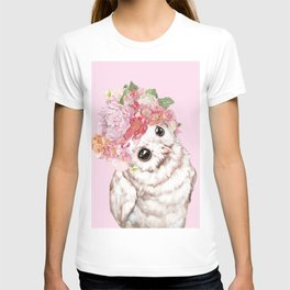 Snowy Owl with Flowers Crown T-shirt