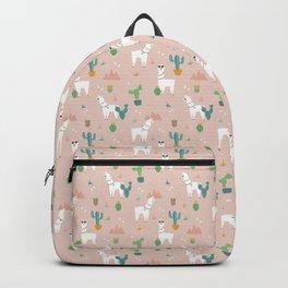 Summer Llamas on Pink Backpack