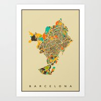 barcelona Art Prints featuring Barcelona by Nicksman