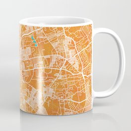 Liverpool, England, Gold, Blue, City, Map Coffee Mug