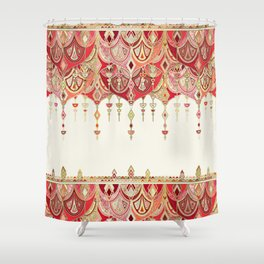 Royal Red Art Deco Double Drop Shower Curtain