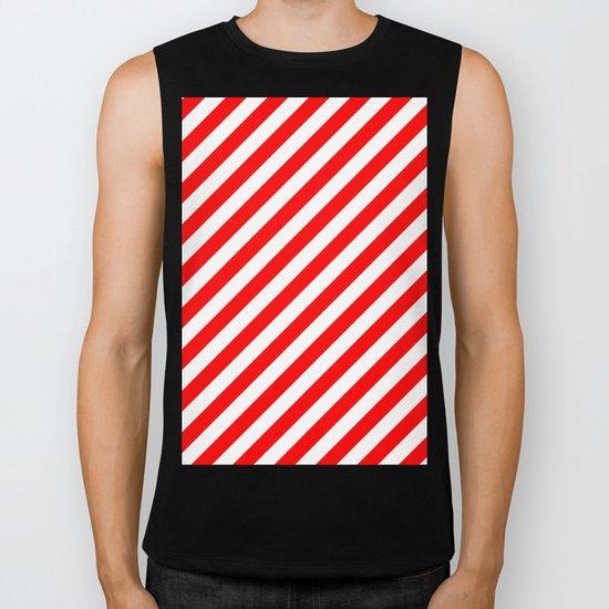 Diagonal Stripes (Red/White) Biker Tank