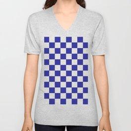 Checkered (Navy & White Pattern) Unisex V-Neck