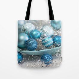 Blue  turquoise christmas baubles and bowl Tote Bag
