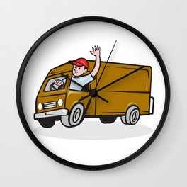 Delivery Man Waving Driving Van Cartoon Wall Clock