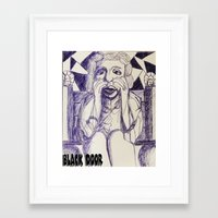 prince Framed Art Prints featuring Prince by black door