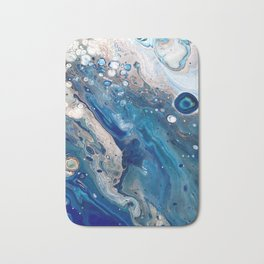 Blue Marbled Fluid Painting Unique Swirls Water Bath Mat
