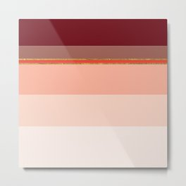 Red Stripe with Gold Foil Accent Metal Print