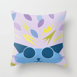 Chaotic Kitten - Periwinkle Throw Pillow