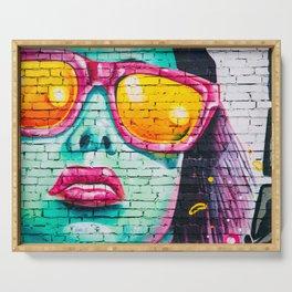 Graffiti Of Women On Wall Serving Tray