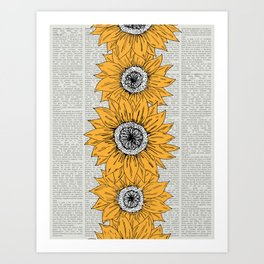 Orange Sunflower Sketch on Newspaper Background Art Print
