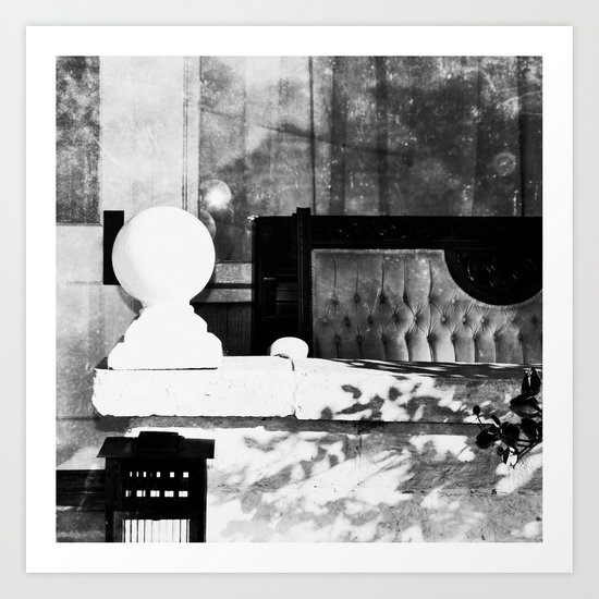 Meanwhile on the porch , transitory atoms are absorbing subatomic particles Art Print