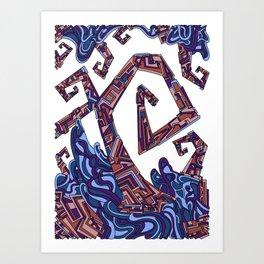 Wandering Abstract Line Art 08: Purple Art Print