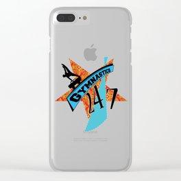 Orange blue gymnastic star 247 Clear iPhone Case