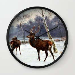 Rosa Bonheur - Deer And Doe In A Snowy Landscape - Digital Remastered Edition Wall Clock