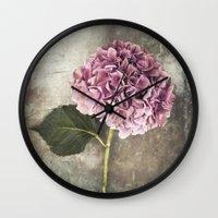 hydrangea Wall Clocks featuring Hydrangea  by Maria Heyens