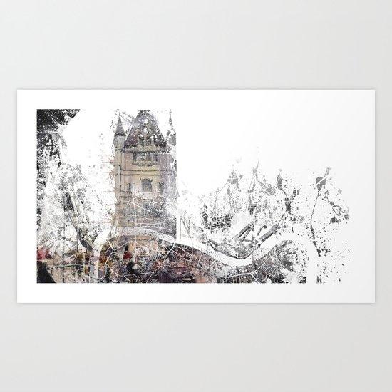 London map - Tower Bridge painting Art Print