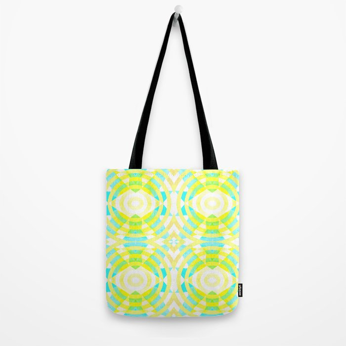 Funky geometry in yellow and blue Tote Bag