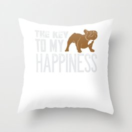 French Bulldog The Key To My Happiness Throw Pillow